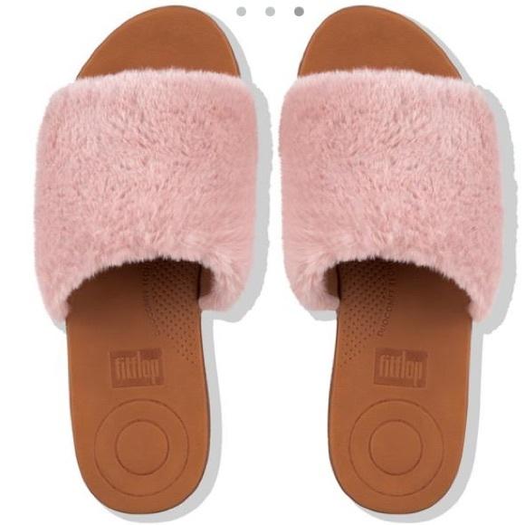 a191776d500bf Fitflop Furry Harper Slide Pink Fur Sandals Shoes